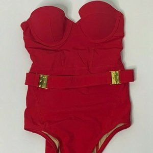 Victorias Secret Swim Suit 6A Red Belted Padded